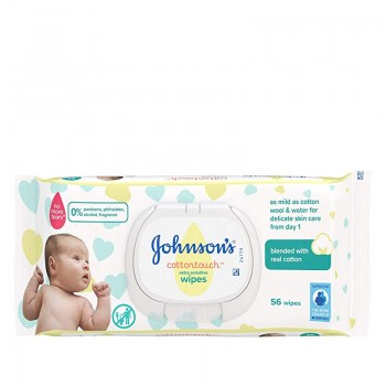 JOHNSON'S BABY ΜΩΡΟΜΑΝΤΗΛΑ COTTON TOUCH ΜΕ ΚΑΠΑΚΙ 56 ΤΕΜ