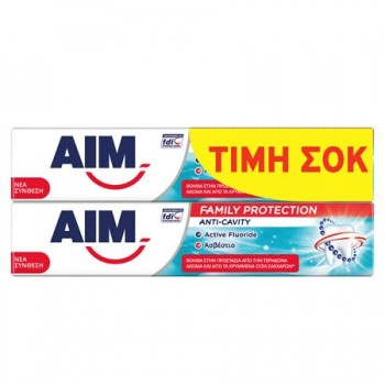 AIM ΟΔΟΝΤΟΚΡΕΜΑ FAMILY PROTECTION ANTI-CAVITY 2x75 ML